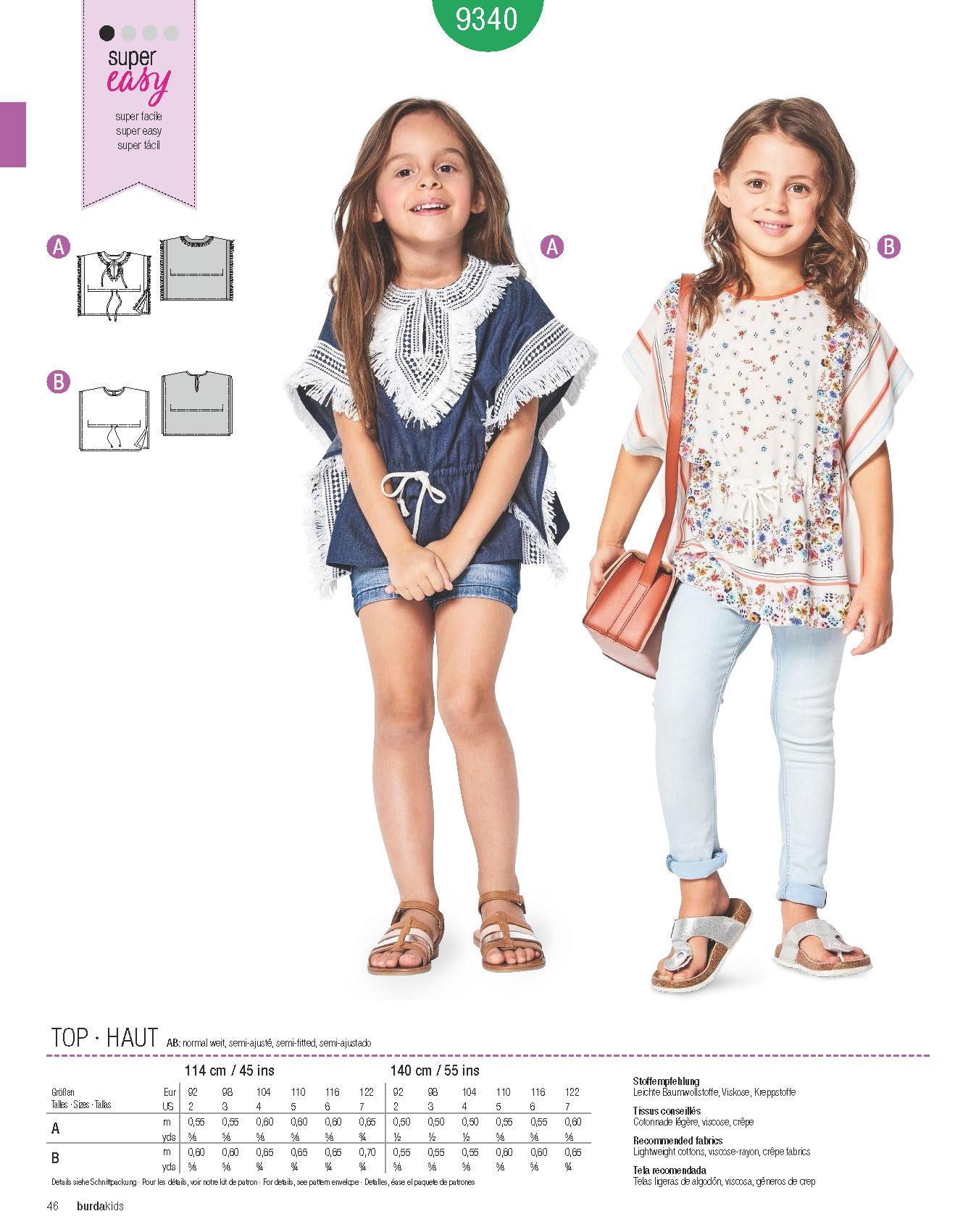 fbec653a8d3 Μόδα για μικρά παιδιά: Πατρόν Burda Kids / 9340
